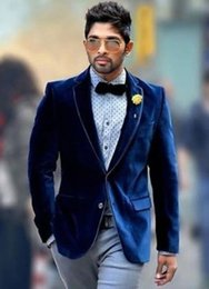 Cheap Navy Velvet Mens Wedding Tuxedos Mens Suits Slim Fit Custom Made Winter Wedding Suits (Jacket+Pants+Bow Tie)