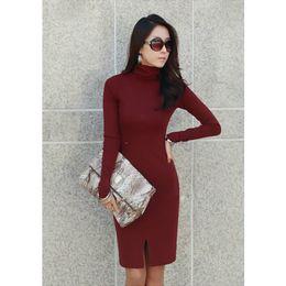 Korean women s dress On-line-New Coreano Mulheres Vestido Turtle Neck manga comprida Split Design Slim OL Lady Vestido Bodycon Knit
