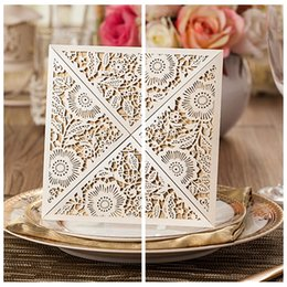 Wholesale Customized Laser Cut Hollow Square Folder Wedding Invitation Wedding Favors Cards Wedding Suppliers Personalized Top Sale Online