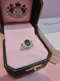 Wholesale International Silver natural emerald A cargo Micro Pave Green Egg Rings Fashion delicate temperament models explosion models