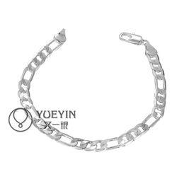 Cool Men's Bracelets jewelry 925 Silver plated 6MM Men's Figaro Chain Bracelet Silver Men's Bracelet Hot Sale 10pcs