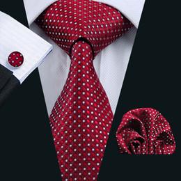 Mens Red Tie Set Silk Jacquard Woven Hankerchief Cufflinks Set Silk Business Formal Work Necktie N-0709