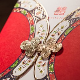 Wholesale Personalized Elegant traditional Chinese Style Double happiness Wedding Invitation card red color SET Free Printing