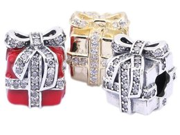 925 Sterling Silver Charms 925 ALE Gift Box with Bow Tie Rhinestone European Beads for Pandora Bracelets Christmas Lover's Gift