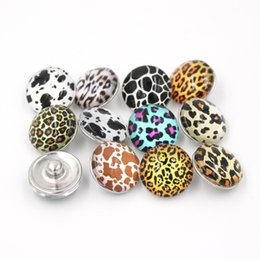 Wholesale DIY Jewelry Fittings New Arrival Leopard Printed Glass Stone Buttons Leopard Snap Buttons for Noosa Bracelet