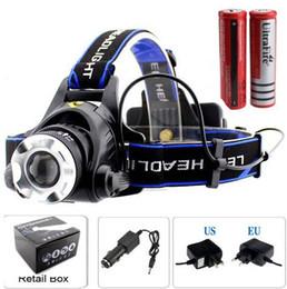 Wholesale 2000 Lumens CREE XM L XML T6 LED Headlamp Headlight Flashlight Head Lamp Light battery charger Car Charger V9 T6