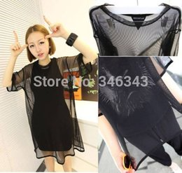 Sexy women Black See Through Mesh Nets Short Sleeve Oversize T-Shirt Cover Tops Blouse free shipping
