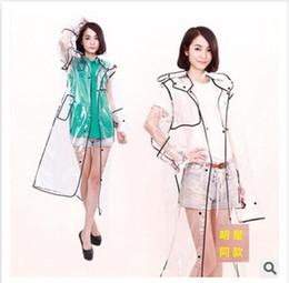 Promotion manteau de pvc clair Serging Raincoat Boutique Unisexe Transparent Transparent Pvc Rainwear Forme Vêtements de pluie Imperméable Style de piste Poncho Imperméable Manteau de pluie m0938