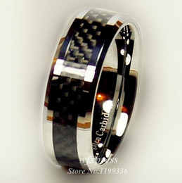 Wholesale-Tungsten Black Carbon Fiber Ring Men Women wedding Engagement Band Ring Free Shipping