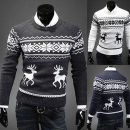 New Fashion Brand Deer Knitting christmas sweater pullover men slim fit mens sweaters o-neck pull homme winter sweater men