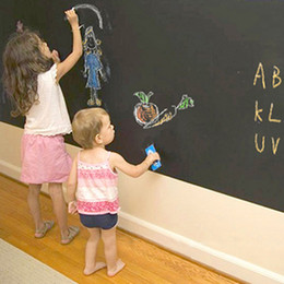 Wholesale Wallpaper DIY Blackboard Waterproof Chalkboard Wall Paper Decal Removable Black Board Sticker cm With Chalks H14831