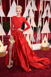 2015 Oscar Dorith Mous Red Color Jersey Taffeta Celebrity Dresses Jewel Neckline with Long Sleeves and Side Slit and DHYZ 01