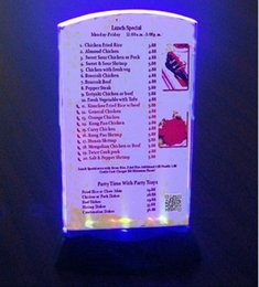 Wholesale NEW Restaurant LED Flashing Menu fashion Holder Bars LED display card Table Tent Easy to replace menu