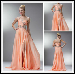 Wholesale Chic Peach Long Prom Dresses Chiffon With Crystal One Shoulder Sweetheart Split Special Occasion Dress Formal Women Party Gowns Abendkleider
