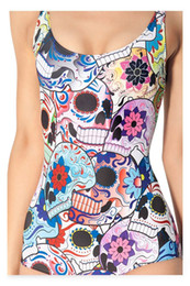 2014 New Style Sexy Swimwear Skull Flowers Teeth Printing Bathing Suit Women's One Piece Swimsuit Plus Size