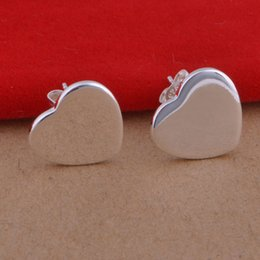 Foreign trade jewelry plated 925 sterling silver earrings earrings Korean version of the simple heart brand popular spot wholesa