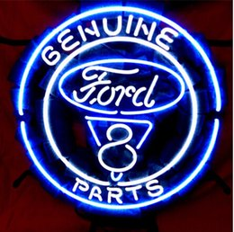 Wholesale American Automobile Ford V8 Motor Genuine Parts Company Neon Sign Lighting Real Glass Tube Store Sign Repair Sign Advertisement Sign quot X16 quot