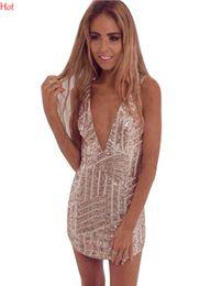 Compra Online Las mujeres atractivas de oro-Verano de estilo de vestidos de mujer sexy vestido de fiesta del club nocturno 2016 Mini vestido de lentejuelas adelgazamiento vestidos de oro negro de vestidos de profundo V caliente SV013815