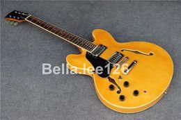 Guitares main gauche corps creux en Ligne-Vente chaude jumbo classique corps creux gauche personnalisé jazz main 335 guitares électriques, usine OEM guitare à la main, la livraison gratuite