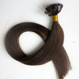 Pre bonded Flat tip human hair extensions 50g 50Strands 18 20 22 24inch #4 Dark Brown Brazilian Indian hair products