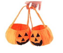 Wholesale 100pcs Halloween Woven Pumpkin Bag Children Solid Hand Candy Basket Cosplay Makeup Party Performance Props Supplies