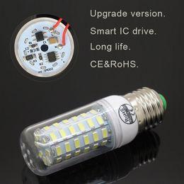 Wholesale 2015 Smart IC Drive ce rohs SMD E27 E14 LED Lamp w W w W w W w W AC V SMD LED Corn Bulb light Chandelier