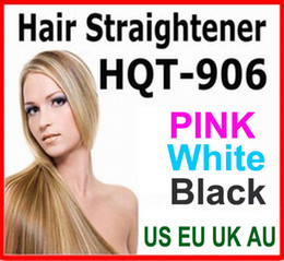 Wholesale Hair Straightener Flat Iron HQT Hair iron Straightening Brush Hair Styling Tool comb With LCD BLACK WHITE PINK US EU UK AU plug