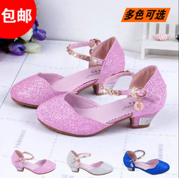 Wholesale Child Pink Dress Shoes - New 2015 Children Princess Sandals GirlsShoes High Heels Dress Shoes PartyShoes For Girls Pink  Blue Silver Gold
