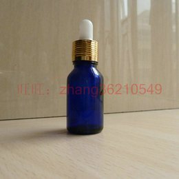15ml blue Glass Essential Oil Bottle With aluminum shiny gold dropper cap. Oil vial, Essential Oil Container