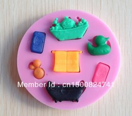 Wholesale 1PCS New Bath time Chocolate Candy Jello D silicone Mold Cartoon Figre cake tools Soap Mold Sugar craft Cake Decoration