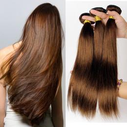 Descuento marrón recta armadura brasileña del pelo Brown medio brasileño extensiones de pelo 4PCS del color 4 # recto brasileño que teje 12