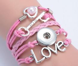 10 pcs lot pink heart pearl key love noosa button bracelet alloy pu leater woven handmade snap button bracelet diy jelwery DIY accessories
