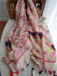Break fotografías en Línea-Nuevo estilo del otoño y del resorte Bufanda nacional del viento quebrada imagen de la flor borla del algodón del algodón bufanda de gran tamaño