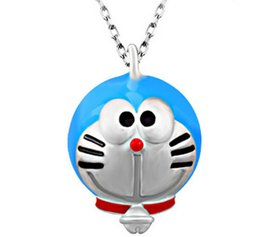 Wholesale Blue Doraemon Sterling Silver Machine Cat layer White Gold Plating White Copper Pendant Necklace