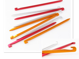 10pcs 16cm Aluminium Alloy Tent Peg Nail Stake Camping Pegs for Outdoor Hiking Camping Trip Essential Tool Kits