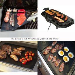 Wholesale 40X33CM Non Stick PTFE BBQ Liners Oven Liner Grill Foil Barbecue Liner Reusable Teflon Cooking Sheet LA871836