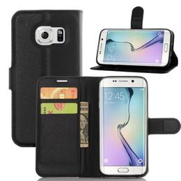 Lg sachets en plastique à vendre-Litchi Leather Wallet Case Cell Phone Pouch en plastique dur pour Samsung Galaxy S7 Bord S7 LG K10 M2 carte de crédit slot Stand Bag couverture de la peau 5pcs