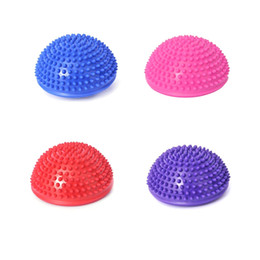 Wholesale 2016 Hot Yoga Half Ball Fitness Equipment Kids Elder Durian Ball Massage Mat Ball Exercise Balance Ball Point Gym Yoga Pilates Ball