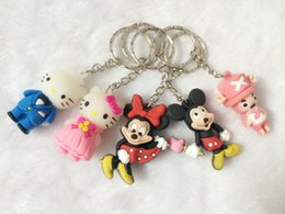 Wholesale Soft Animal Keyrings - 3D HELLO KITTY Mickey Mouse Keychain Keyring Key Ring Key chain cute Cartoon Movie Accessories Soft Rubber Keychain Kids gift W196