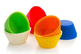 New Fashion 7cm Round shape Silicone Muffin Cases Cake Cupcake Liner Baking Mold 7colors choose freely 100pcs