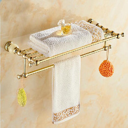 Wholesale And Retail Solid Brass Golden Finish Marble Towel Rack Holder Clothes Shelf Bathroom Accesssories Towel Bar Holder