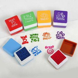 Wholesale in English Words Praise Reward Stamp Printing Set for Teachers Six Colors Via DHL