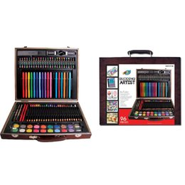 Wholesale Artoys Piece Budding Artist Deluxe Art Set Studio Art Craft Supplies Set in Wood Box Great Gift for Drawing and Painting