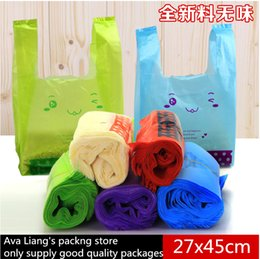 Wholesale cm T Shirts Plastic Shopping Bags Supermarket Vest Apparel Promotion Bag Colorful Smiling Bear Printing