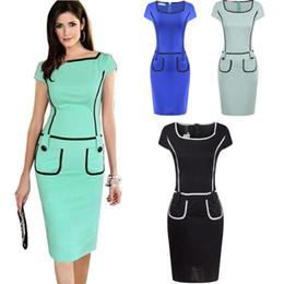 Women Summer Patchwork Pocket Dress Office Work Wear OL Dress Short Sleeve Formal Vintage Pencil Dress 3XL DK1741LY