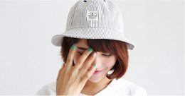 Wholesale-New Design 2015 Joker Embroidery Cowboy stripes patch anchor Top Bucket Hat Fashion Fisherman Hat 3 Colors