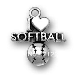 Wholesale-free shipping new style Antique silver i heart softball charms accessory sports jewelry