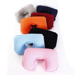 Wholesale 2015 Hot Best NEW Portable Folding Air Inflatable Travel Neck U Shape Pillow Support Head Rest Air Blow Up Cushion Outdoor