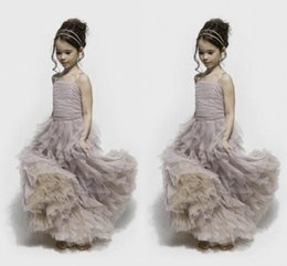 Dusty Purple Tulle Flower Girl's Dresses Spaghetti Straps Pleats Ruffles Skirt Ruched Bodice Clothes Stack Up A line Pageant Gowns