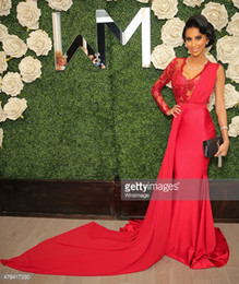 lilly ghalichi A Line Red Evening Prom Dresses Jewel Lace Illusion Long Sleeves Satin Graceful Celebrity Red Carpet Dresses Sweep Train